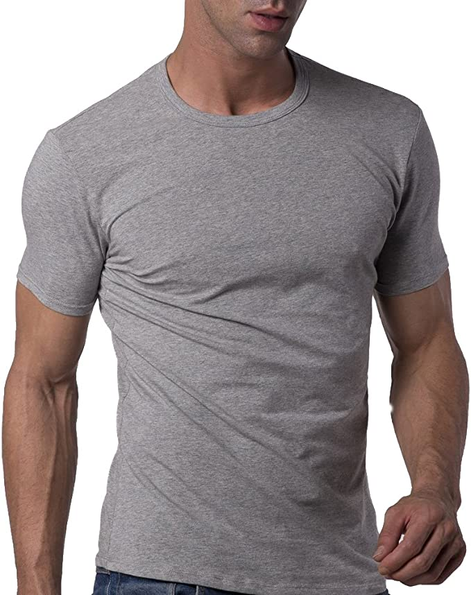 Mens Cotton Stretch Crew Neck Short Sleeve T-Shirt Undershirt Slim Fit YU4164