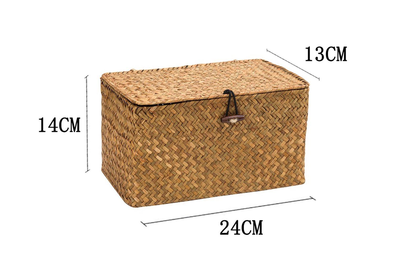 WOOD MEETS COLOR Cuadrado Cesto de Almacenaje de Mimbre Caja de Almacenaje Con Tapa 24cmx14cmx13cm (Originalx2)
