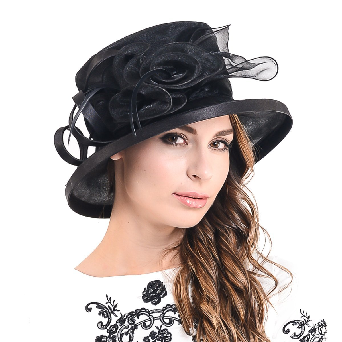 65aab06b269 Kentucky Derby Dress Church Cloche Hat Sweet Cute Floral Bucket Hat  F-S606-Green