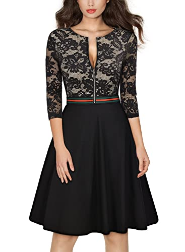 MissMay Women's Vintage Floral Lace Front Zipper 3/4 Sleeve Elegant Swing Dress