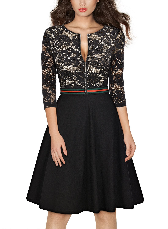 MissMay Women's Vintage Floral Lace Front Zipper 3/4 Sleeve Elegant Swing Dress Small