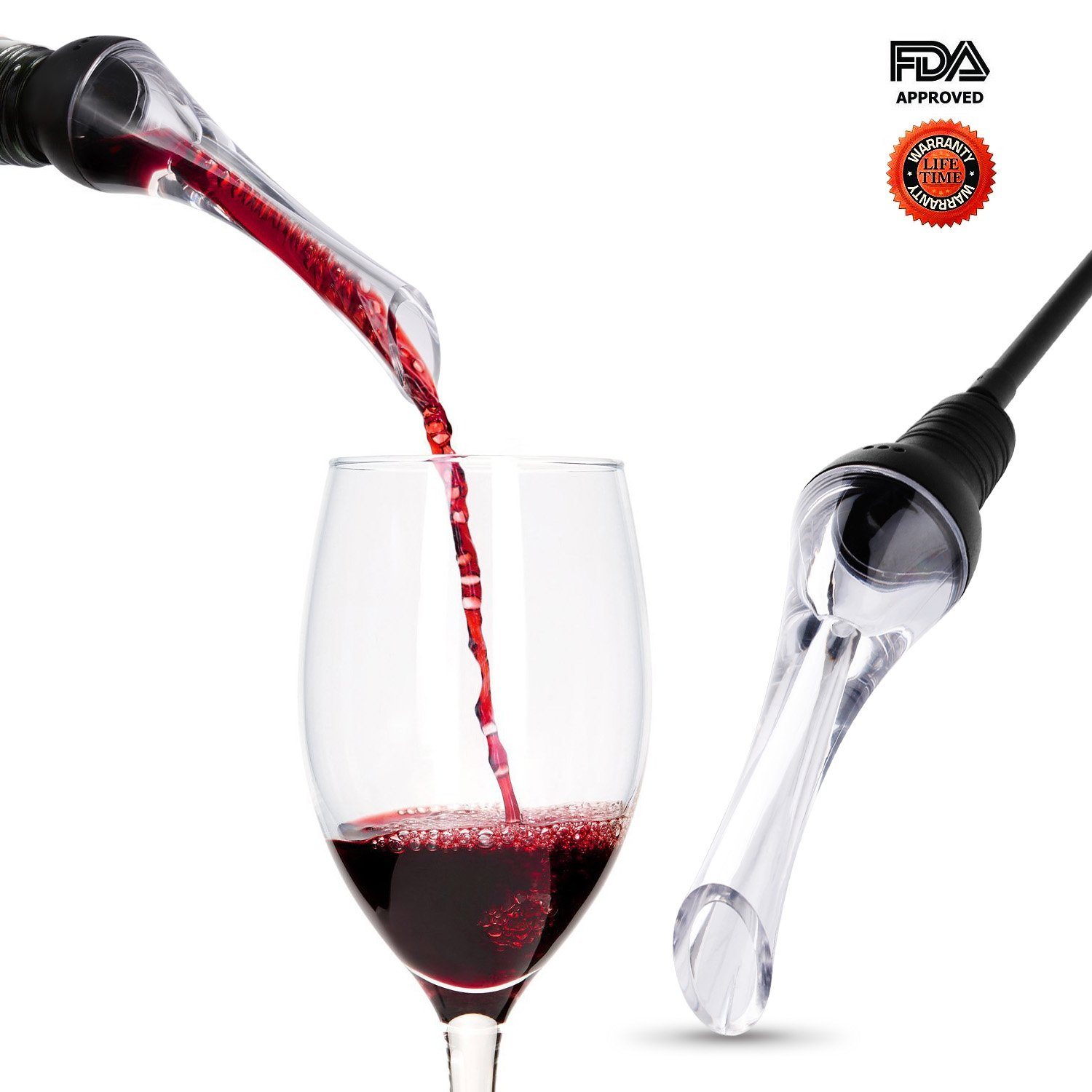 Wine Aerator Pourer,  Premium Aerating Pourer and Decanter Spout, Breather Excellent for Whiskey