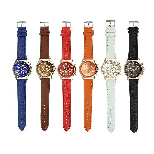 6 unidades al por mayor las niñas correa de piel Fashion para mujer joyería reloj Casual pulseras de tirantes para mujer: Amazon.es: Relojes