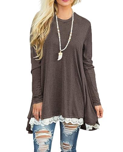 Long Sleeve Loose T-shirt Dresses Lace Tunic Dresses Plus Size Cotton for Women Juniors
