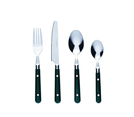 Bon Brasserie Juego de cubertería de 16 piezas de acero inoxidable, color verde