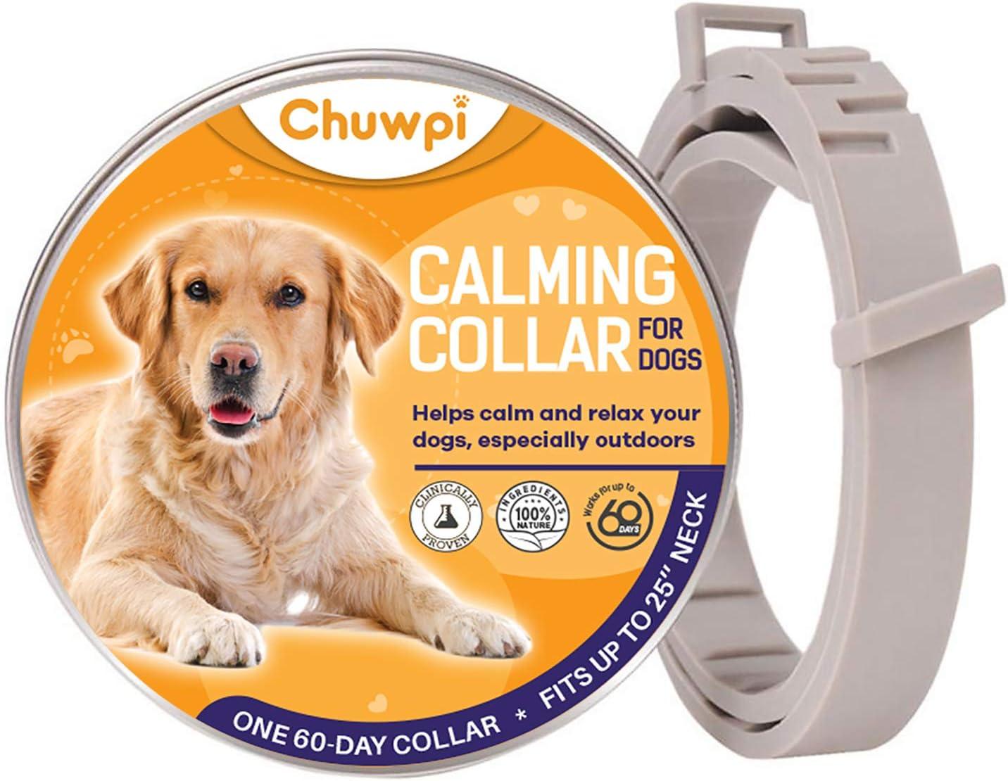 Collare calmo feromone media e grande 100/% naturale regolabile e impermeabile sollievo dallansia per cani di taglia piccola CHUWPI collare calmante per cani