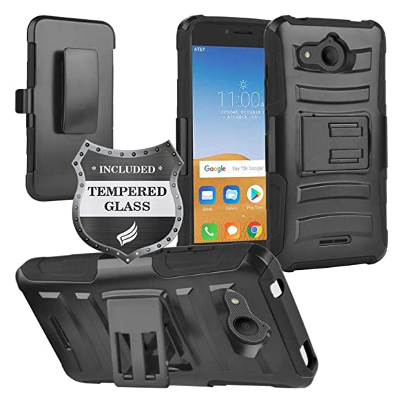Eaglecell - Alcatel Tetra /5041C - Hybrid Armor Case w/Stand/Belt Clip  Holster + Tempered Glass Screen Protector - CV1 Black