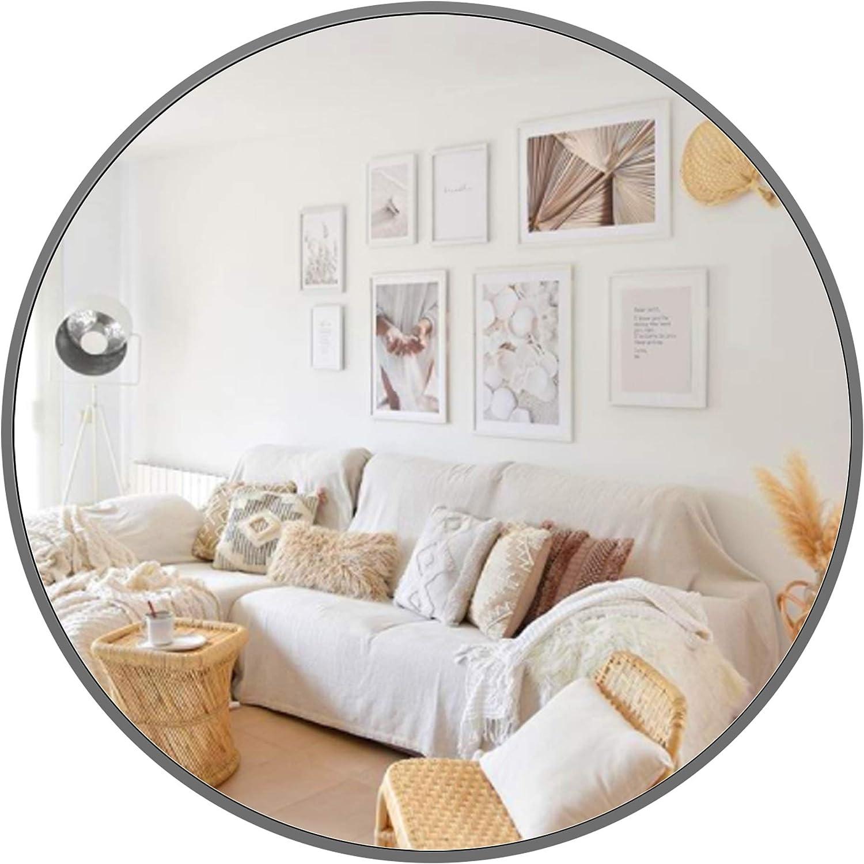 PexFix 7,7 cm Wandspiegel, rund, modern, industriell, glänzend,  gebürsteter Metallrahmen, Wandmontage, dekorativer Spiegel für  Schlafzimmer,