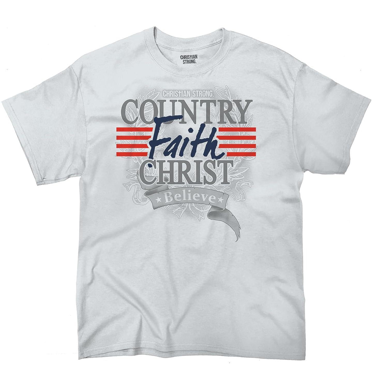 Country Faith Christian Americana Patriotic USA Flag Shirt T-Shirt Tee