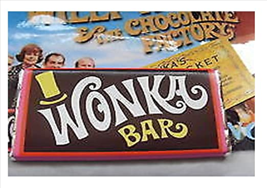 2 X Willy Wonka Chocolate Bar With Novelty Golden Ticket