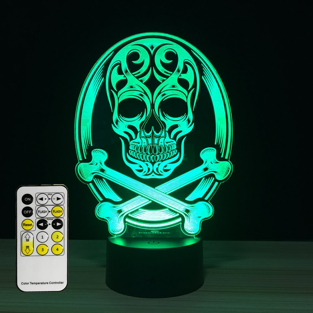 Amazon.com: Night lights for kids Skull lamp 3d Night Light 7 Colors ...