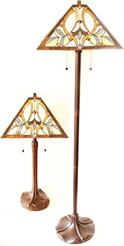 Tiffany Style Floral Motif Table and Floor Lamp Set