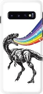 Stylizedd Samsung Galaxy S10 Slim Snap Classic Case Cover Matte Finish - Rainbow Dino