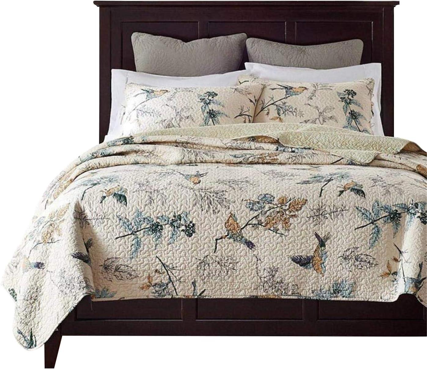 Brandream American Country Comforter Sets, Birds Printing Queen Quilt Set, Beige 3Pcs