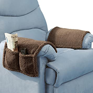 Armchair Covers With Pockets Set Of 2 Brown