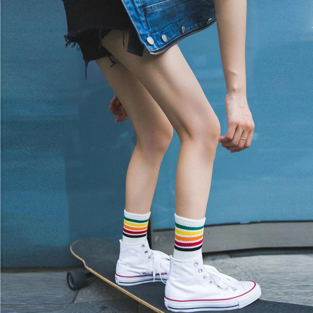 Sothread Womens 5 Bar Color Stripe Socks Cotton Casual Funky Sports All-match Socks