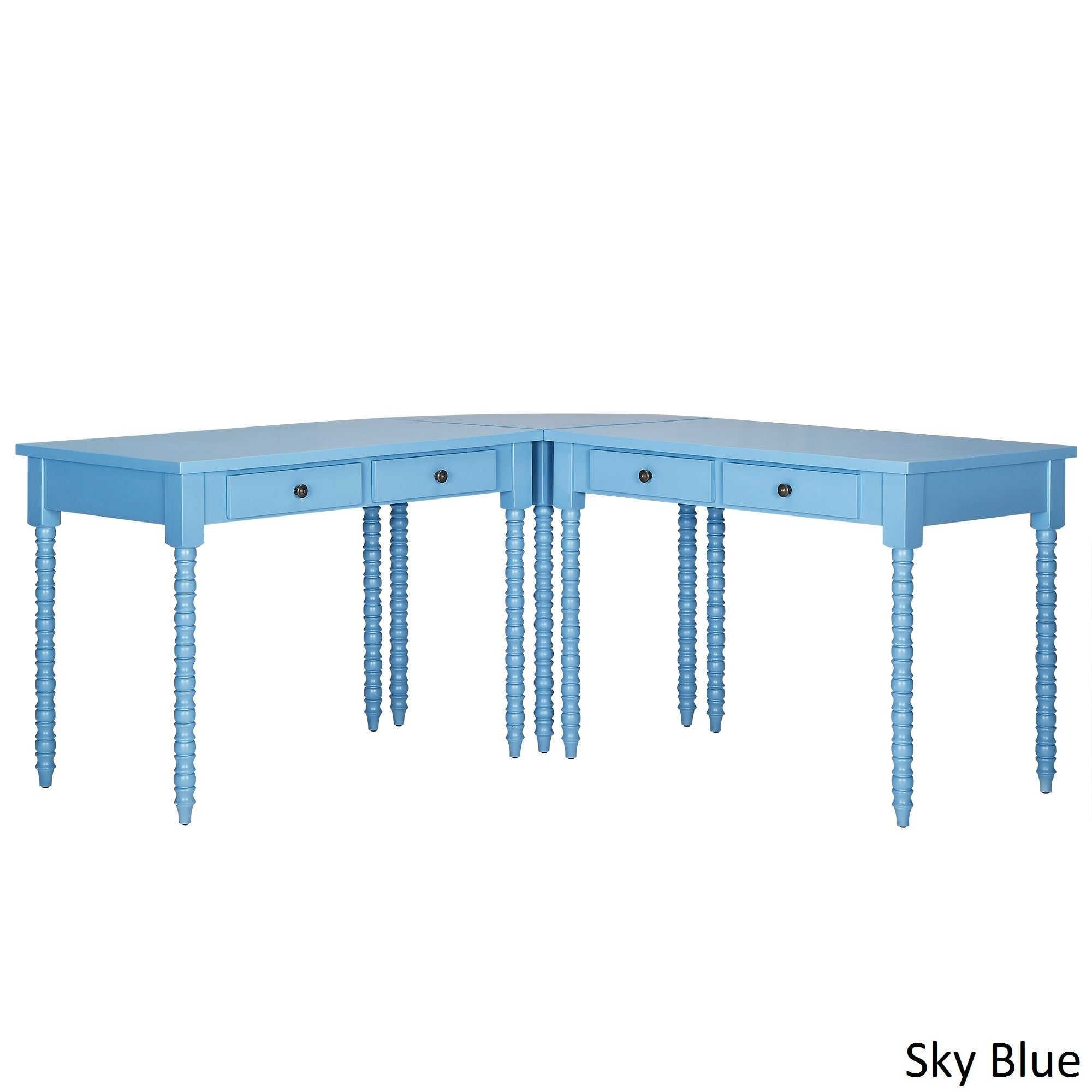 iNSPIRE Q Lyndale L-Shaped lix Legs Corner Office Desk by Bold Blue Painted