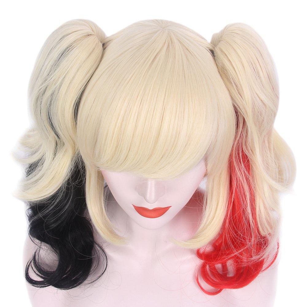Amazon.com: STFANTASY Ombre rubio rojo negro Ponytail peluca ...
