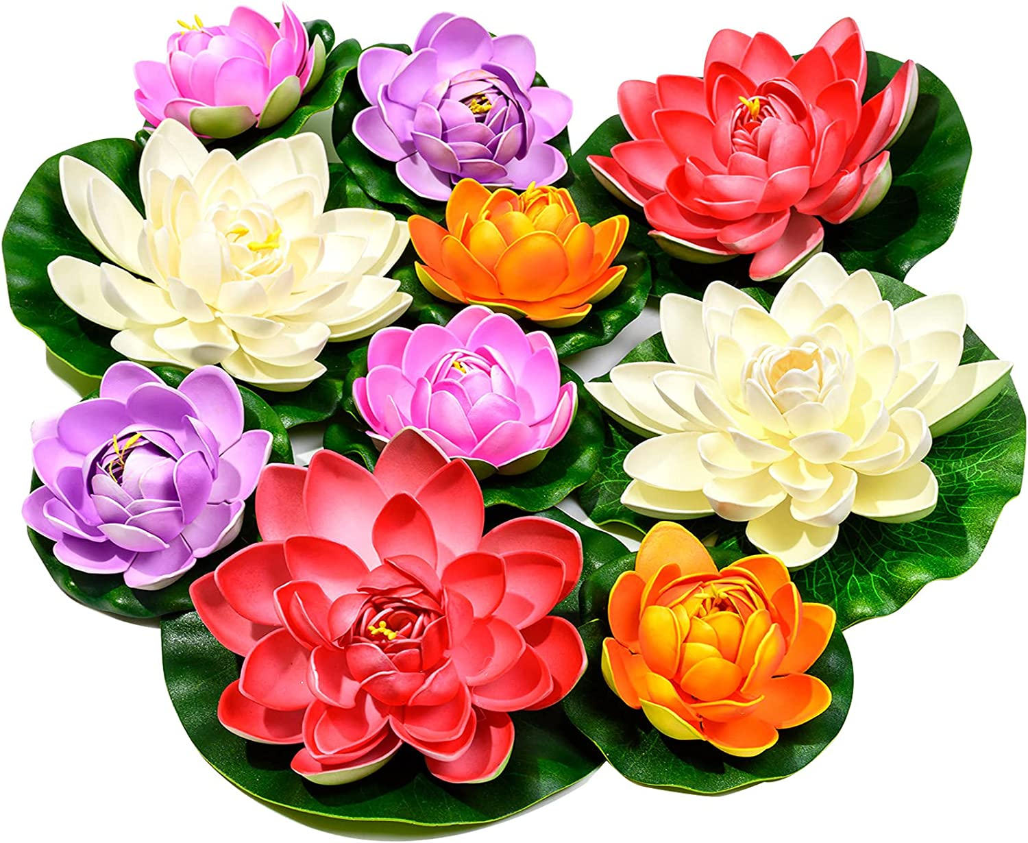 Artificial Floating Foam Lotus Flower with Water Lily Pad, Realistic Ornanment Perfect for Home Outdoor Patio Pond Aquarium Wedding Party Decorations, 10PCS