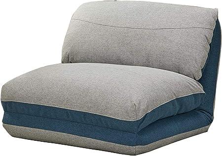 3 Ultra Convertible 1 Meubletmoi Fauteuil Gris lit Bleu Place Zen Couchage Tissu Doux Positions Confortable mnvON80w