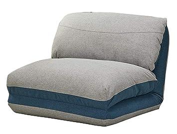 8b09ba06a3b Meubletmoi Fauteuil Convertible Couchage lit 1 Place Tissu Doux Gris Bleu -  3 Positions - Ultra
