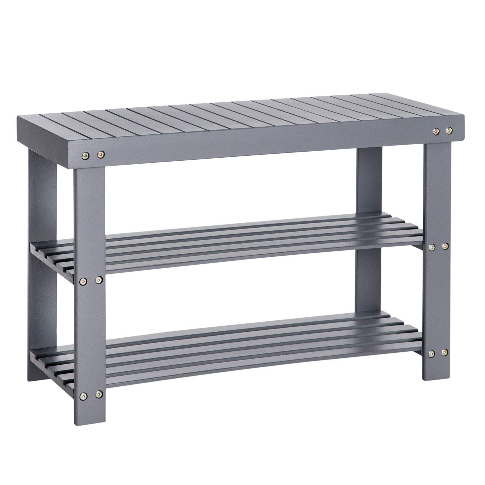 SONGMICS Bamboo 3-Tier Shoe Rack Bench, Shoe Organizer, Storage Shelf, Holds Up to 264 Lb, Ideal for Entryway Hallway Bathroom Living Room and Corridor Gray ULBS04GY by SONGMICS