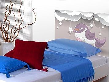 Cabecero Cama PVC Impresión Digital Dulces Sueños Unicornio Multicolor 115 x 60 cm | Disponible en Varias Medidas | Cabecero Ligero, Elegante, Resistente y ...