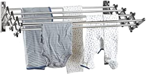 "Stainless Steel Wall Mount Laundry Drying Rack: Retractable Fold Away Clothes Dry Racks, Easy to Install Design - 22.5 Linear Ft, 60 lb Capacity, Extended Size: 34"" X 24"" X 8.5"""