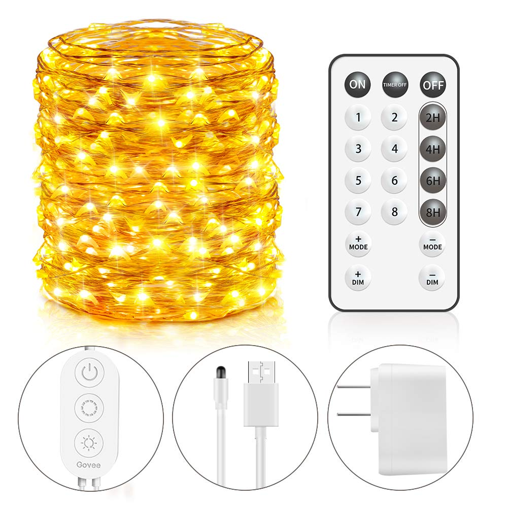 Govee USB String Light, 66Ft String Light 200 LEDs 8 Scence Modes 4 Timing Options Waterproof Flexible Fairy Light with Remote Control for Home Patio Parties Wedding Festivals