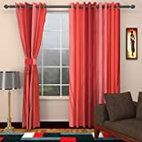 Ab home decor set of 2pc premium heavy fabric elegant ringtop plain polyester eyelet 9ft long door curtain-Red