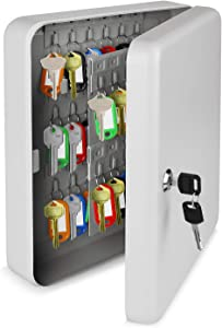 Flexzion Key Cabinet Steel Lock Box with 60 capacity Colored key Tags & Hooks - Wall Mounted Safe Organizer, Security Storage Lock Box System for Homes, Hotels, Schools or Business (Gray)