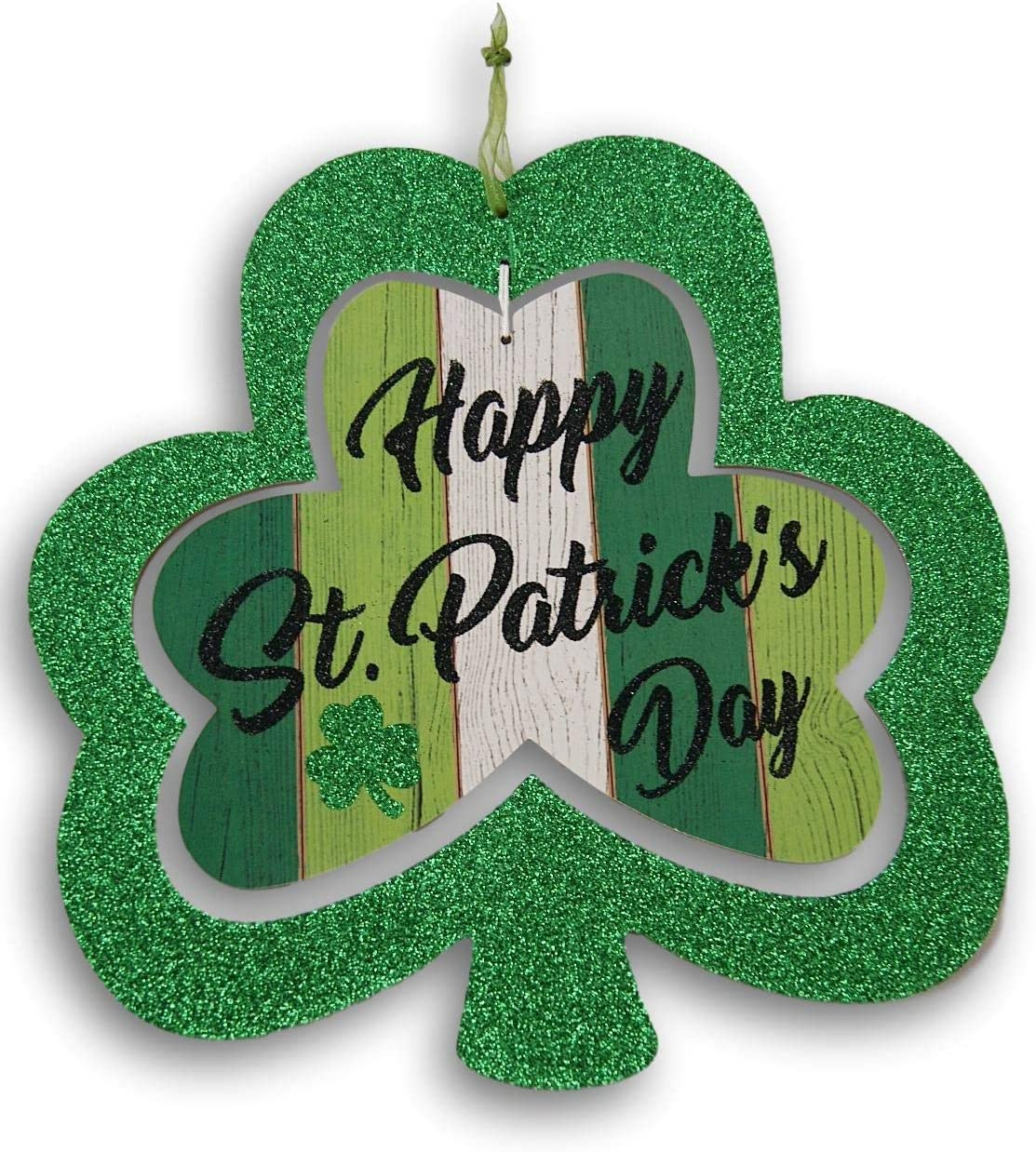 Seasonal Decor Happy St. Patrick's Day Decorative Glittery Hanging Sign - 10 x 11 Inches
