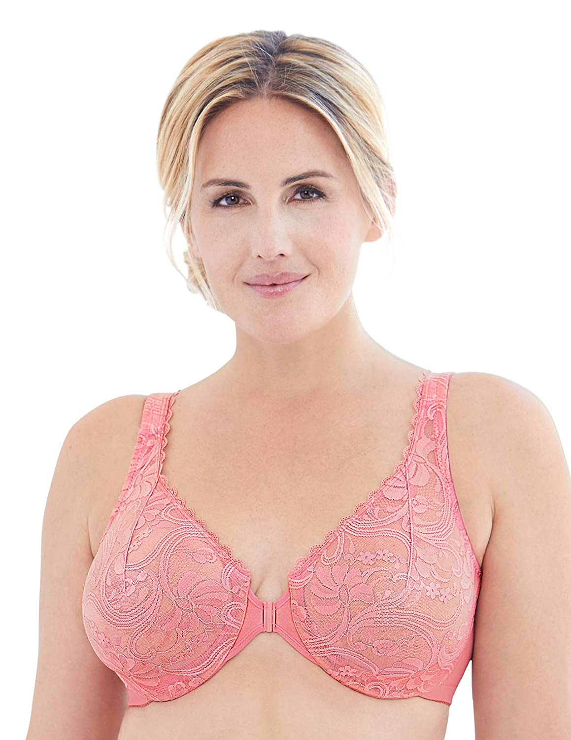 8f7d026002a Glamorise Women's Full Figure Wonderwire Front Close Stretch Lace Bra #9245  at Amazon Women's Clothing store: Bras