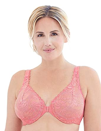 7be5cccd2cb Glamorise Women's Plus Size Full Figure Wonderwire Front Close Stretch Lace  Bra #9245, Apricot