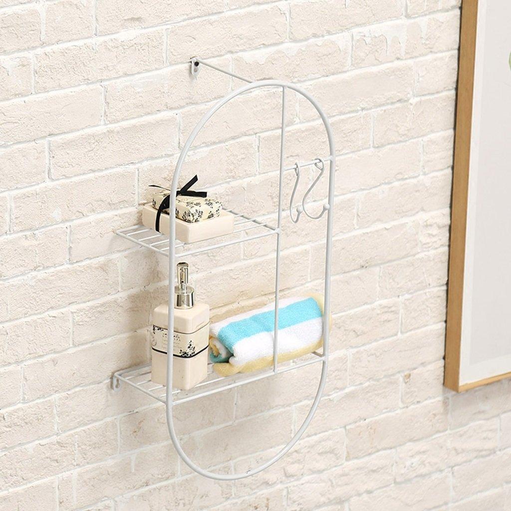 Willesego Nordic Dekorative Schmiedeeisen Metall Lagerregal Schlafzimmer Wohnzimmer Küche Badezimmer Wandablage Regal (Farbe  Gold) (Farbe   Weißszlig;, Größe   -) Weiß