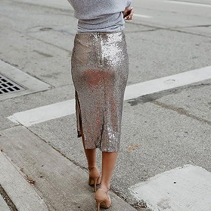 fd8328e97592 VENMO Damen Pailletten Fashion Rock Hohe Taille einfarbig Röcke Wetlook  Hohe Taille Midi Hippie Röck Flared Ausgestellt Midi Länge Midi gefaltete  Röcke High ...