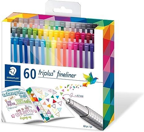Image ofStaedtler 334 C60. Rotuladores de colores brillantes de punta fina Triplus Fineliner. Punta revestida de metal, ergonómico, lavable - Pack de 60 marcadores.