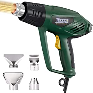 Heat Gun 1500W Professional Electric Hot Air Gun Fast Heating Variable Temperatures with 3-Temp Settings 122℉~1112℉, 4 Nozzle Attachments, for Soldering, Bending Pipes, Stripping Paint (TAHG01P)
