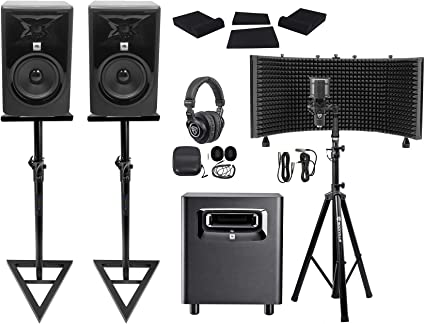 2 Rockville Adjustable Studio Monitor Speaker Stands For Alesis Elevate 5 MKII