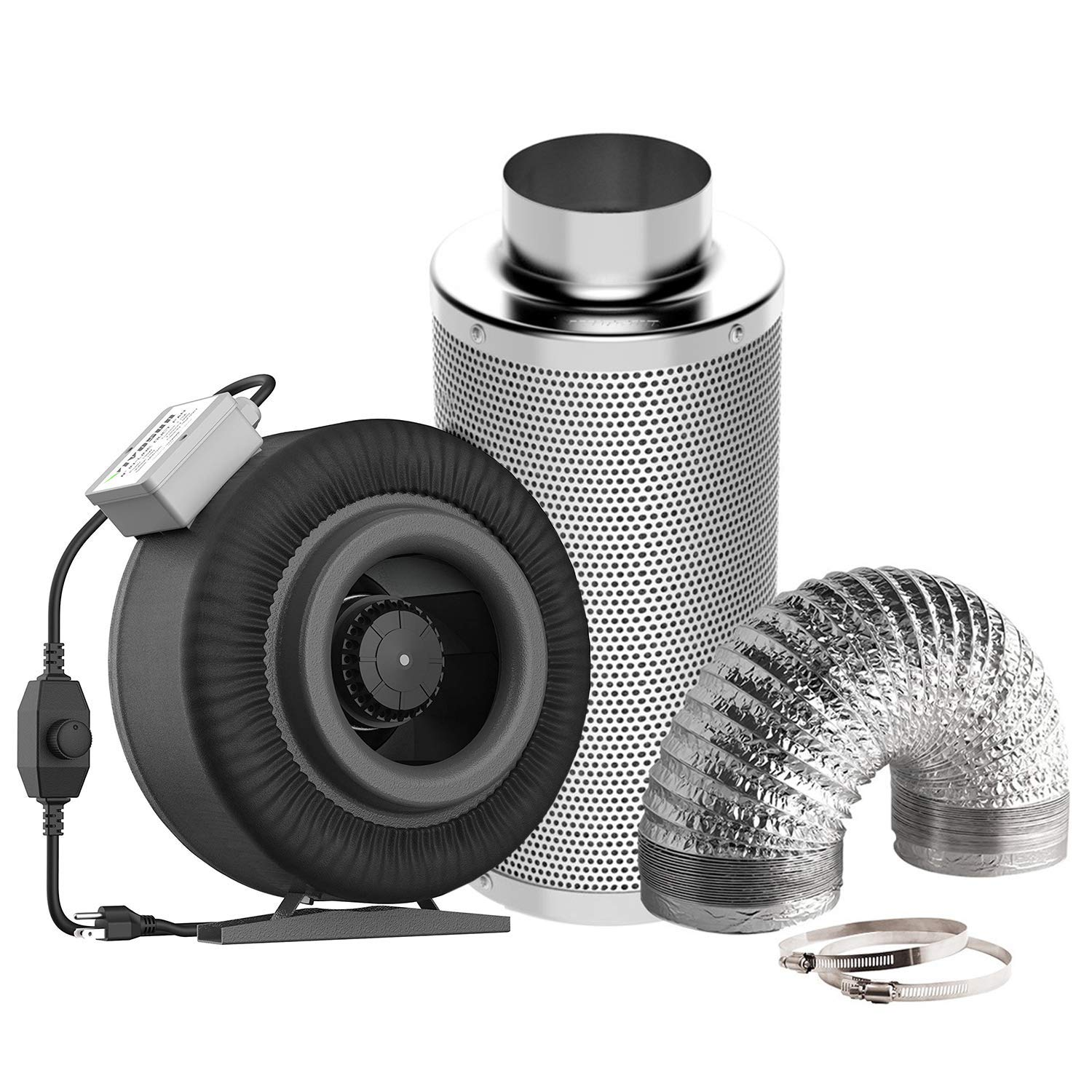 VIVOSUN Air Filtration Kit: 8 Inch 740 CFM Inline Fan with Speed Controller, 8 Inch Carbon Filter and 25 Feet of Ducting Combo (Renewed)