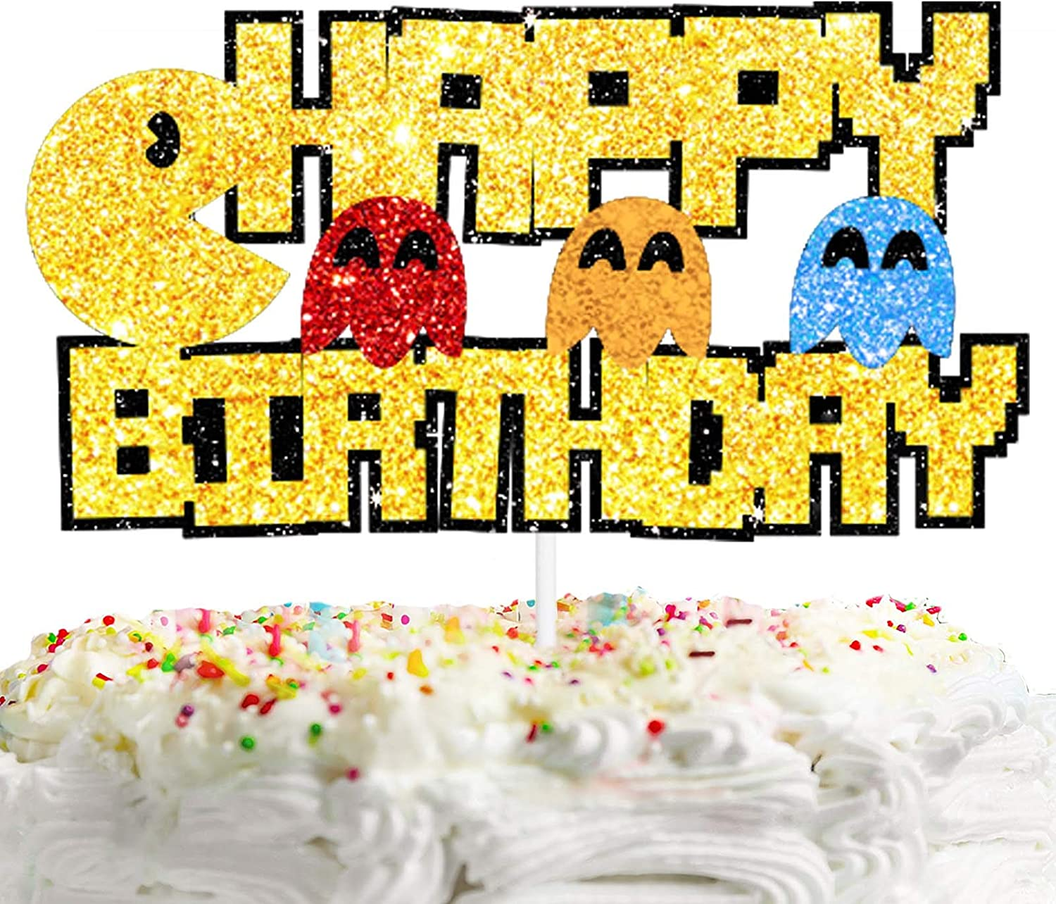 Happy Birthday Cake Topper Video Games Theme Kids Party Decor Picks for Retro Pixel Game Decorations Supplies