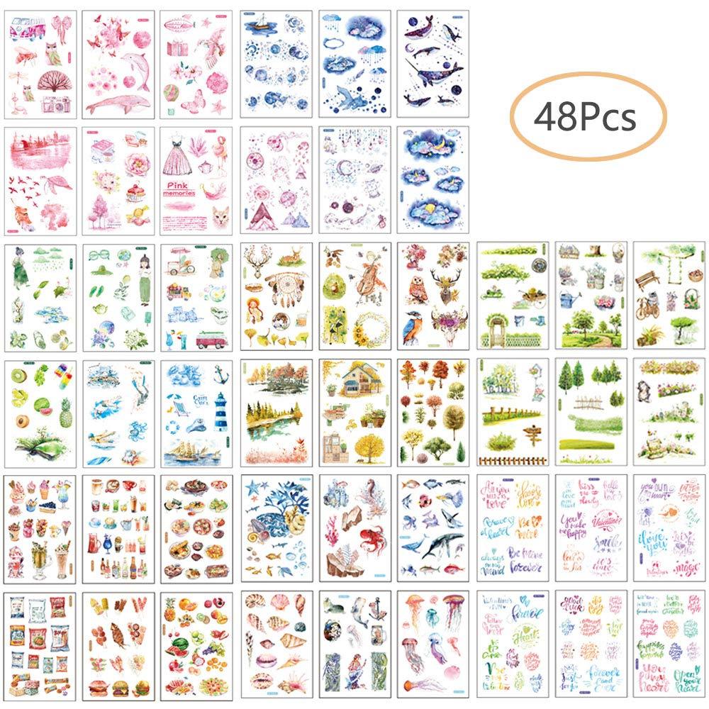Ritte Adesivi, 48 Fogli Adesivi Decorativi Etichette Decorazione per Scrapbooking, Album Fotografico, Decorazione Fai da Te, Diario Fai da Te, Album per Album e Album Scrapbooking