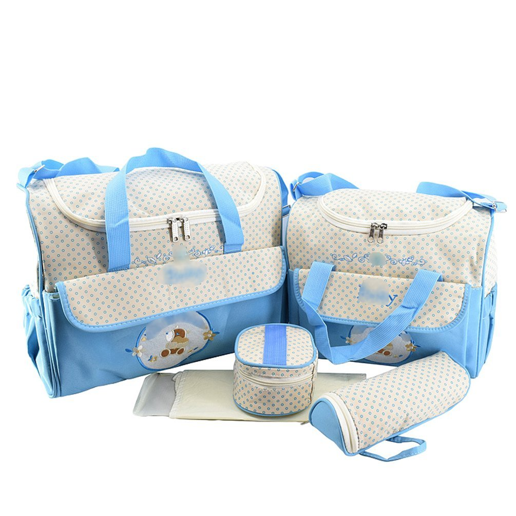 Jitong 5 in 1 Changing Bag Set for Baby/Embroidered Mummy Handbags/Thermal Bottle Bag/Diaper Nappy Changing Mat (Blue, One Size)