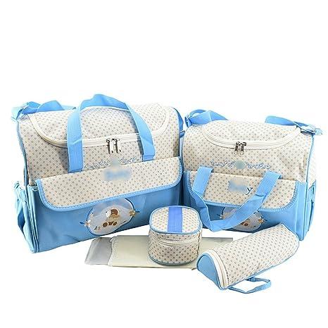 Jitong Set de 5 Piezas Bolsos Cambiadores/Bordado Mamá Bolsa de Hombro/Pañales Cambio Bebé/Bolsa Termica para Biberones (Azul, Talla única)