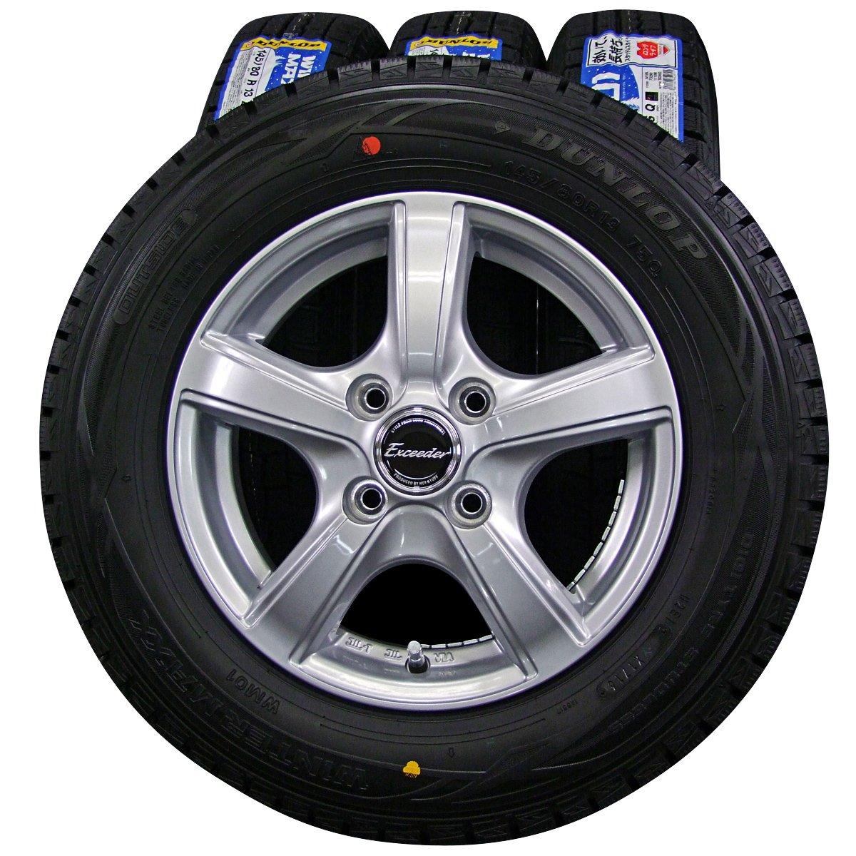 13インチ 4本セット スタッドレスタイヤ&ホイール DUNLOP (ダンロップ) WINTER MAXX (ウィンターマックス) WM01 145/80R13 HOT STUFF (ホットスタッフ) Exceeder (エクシーダー) EXV 13×4J(+35)PCD100-4穴 B01JLCRT24