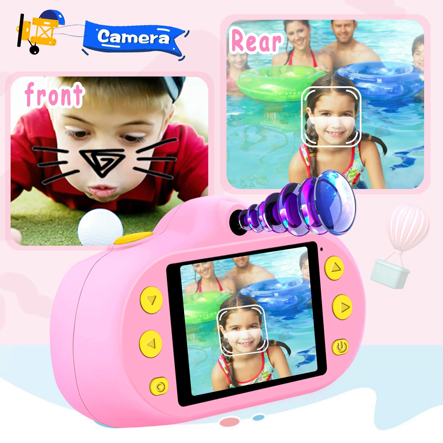 [NEW]2.4'' Kids Camera 12MP Kid Gift Toy DUAL Lens Camera 3-10 Years Girl boy HD 1080P Selfie Camera Mini Child Digital Camcorder with Puzzle Game,MP3 Kid Outdoor Camera Birthday Gift[Free 16G SD Card] by Camlinbo (Image #3)