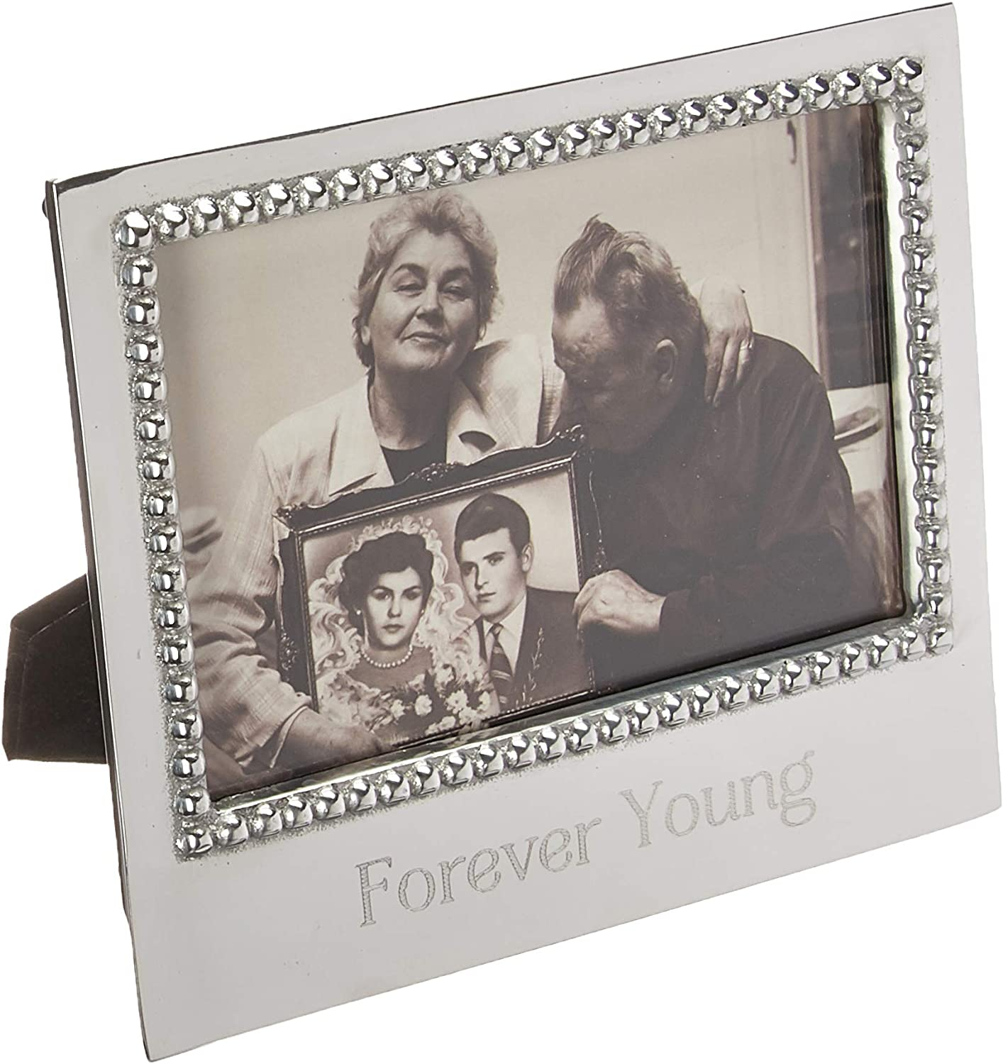 MARIPOSA Forever Young Beaded 4X6 Frame, Silver
