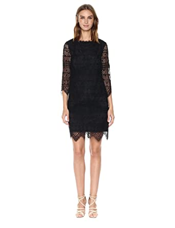 Trina Turk Women's Geddes Blackbird Stripe Lace Dress, Black, 2