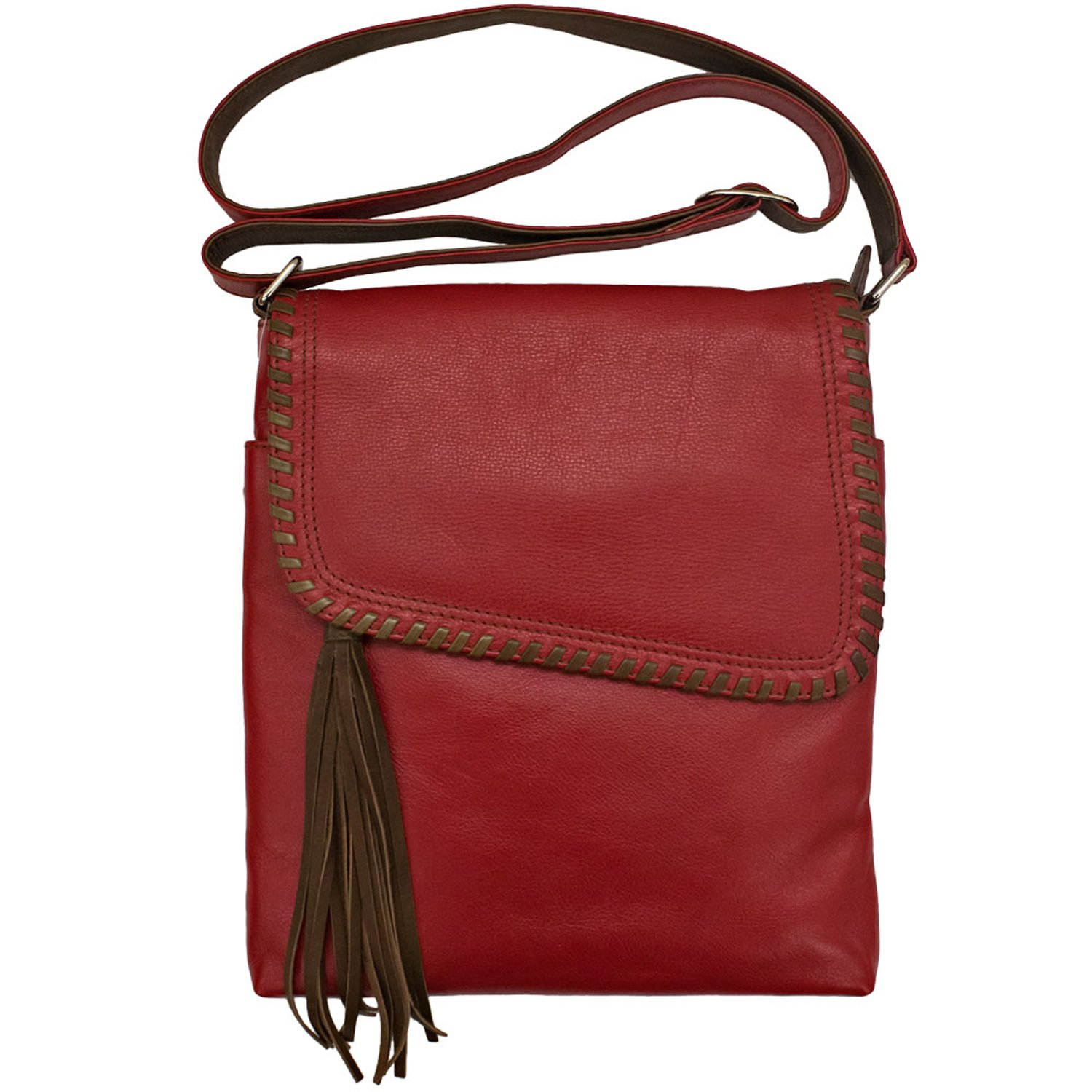 Whipstitched Leather Cross-body Handbag (Red/ Toffee)