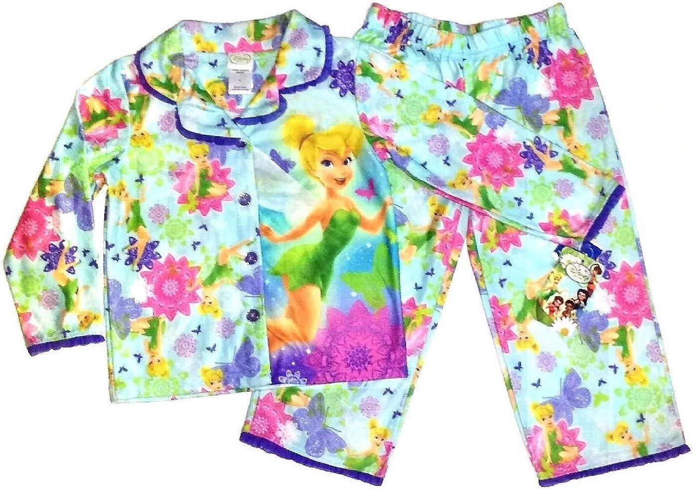 Tinkerbell Disney Fairy Girls Flannel Pajama Set~ SZ 4
